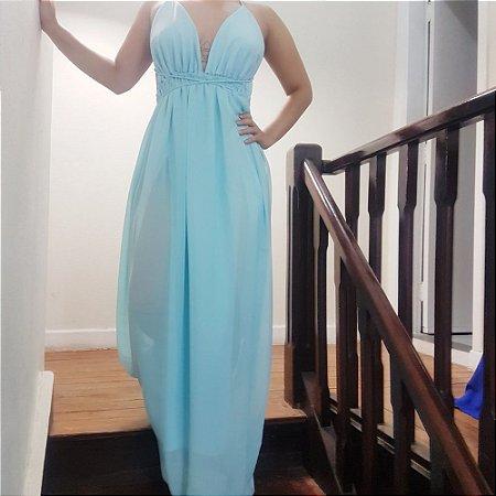 Vestido Longo Tiffany Duas Fendas Chiffon Azul Bebê