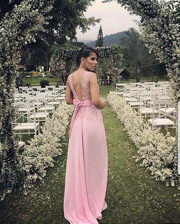 a5061cc62 Vestido Rosa Longo de Renda com Tule -  ateliemyway - Ateliê My Way