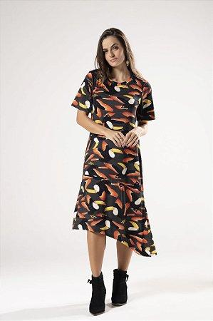 Vestido Assimétrico Estampado