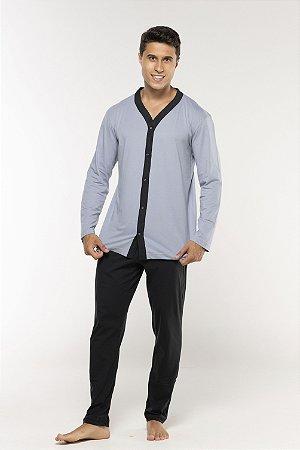 Pijama Masculino Manga Longa Com Botões e Calça