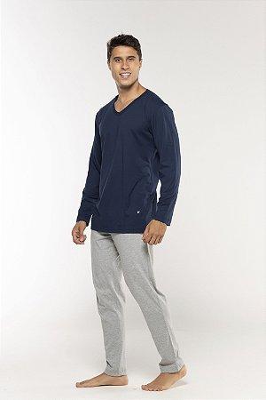 Pijama Masculino Gola V Manga Longa e Calça