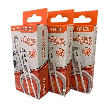 CABO KAIDI ENTRADA TYPE-C PARA V8/LIGHTNING/TYPE-C