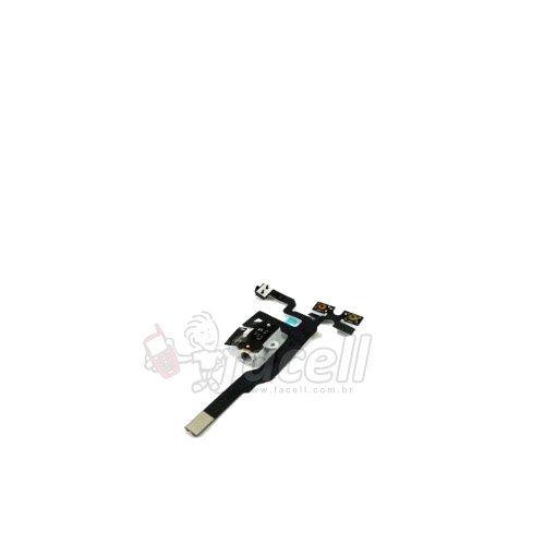 Cabo Flex Volume Chave Vibra Fone Apple Iphone 4s Branco