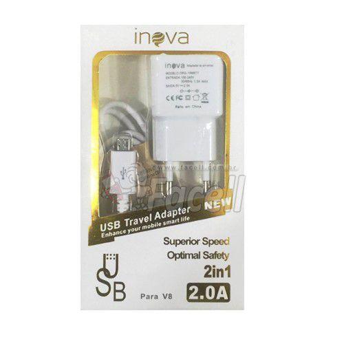 Carregador Universal Micro USB V8 Branco Inova