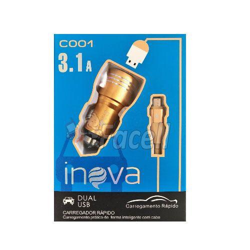 Carregador Veicular V8 Inova Original 3.1a 2usb Metal