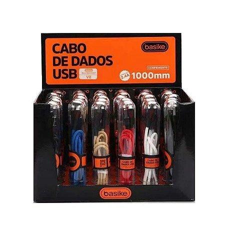 Cabo Usb Em Nylon V8 Tubo Basike