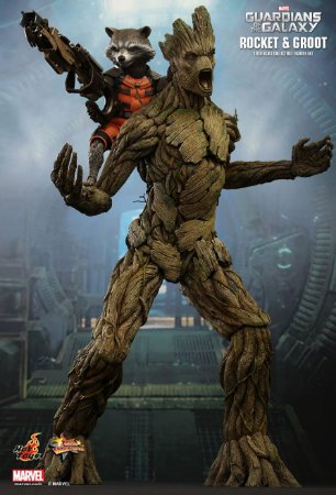 Groot & Rocket Guardians of the Galaxy Marvel Hot Toys Escala 1/6 original
