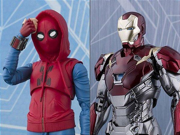 Spider Man Home Made Suit ver. e Iron Man Mark XLVII Homecoming S.H. Figuarts Bandai Limitado Original
