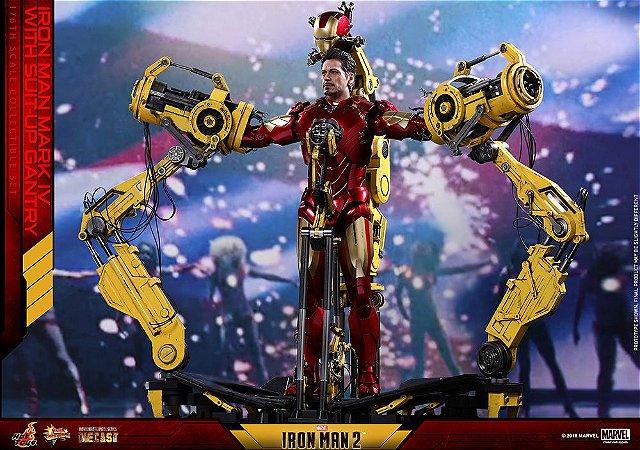 Homem de Ferro Mark IV Diecast com Suit-up Gantry Homem de Ferro 2 Movie Masterpiece Hot toys Original