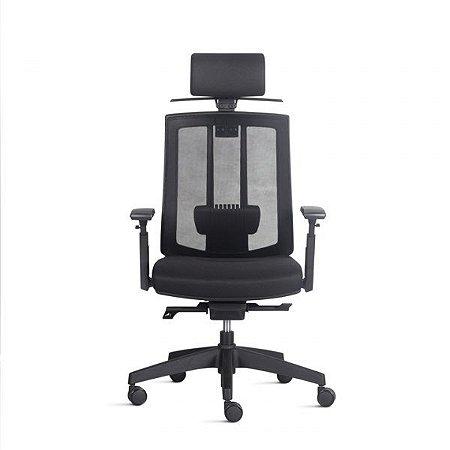 Cadeira Escritório Song Alta Encosto em Tela c/ Apoio Lombar e Encosto de Cabeça c/ Cabideiro