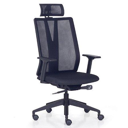 Cadeira Escritório Addit Encosto em Tela c/ ajuste de Inclinação e Apoio de Cabeça c/ Cabideiro