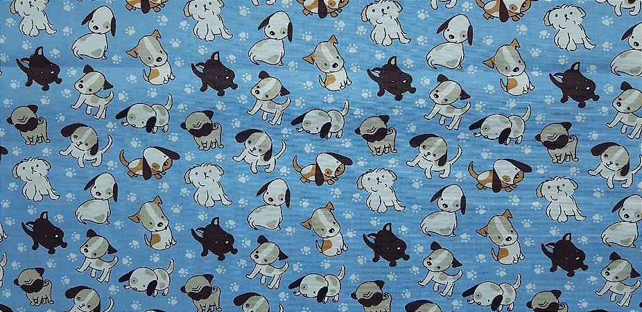 Doguito Azul. Tecido 100% algodão. NT0048 (50x70cm)