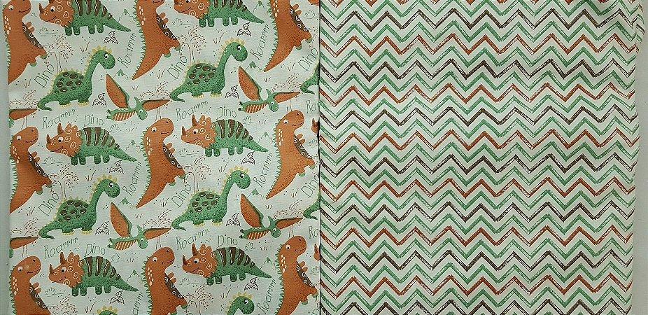 Dinos Terra. Tricoline 100% algodão. NT0066NN0055. 2x(50x70cm)