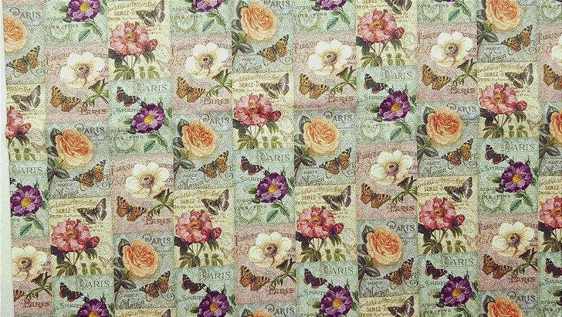 Paris Floral. Tecido 100% algodão. NF0051 (50x70cm)