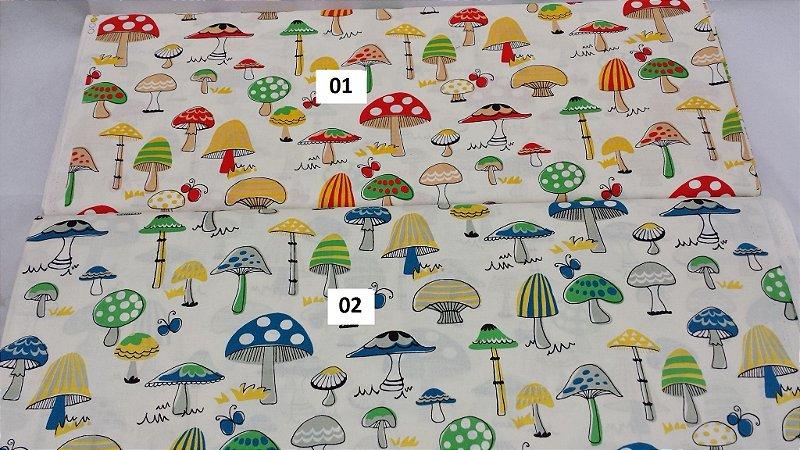 Mushrooms. Tecido 100% Algodão em Fat Quarter (50cm x 55cm)