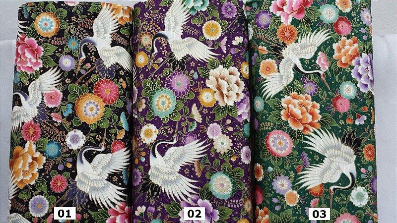 Tsuru Flying. Tecido em Algodão 100% Japonês em Fat Quarter   (50cm x 55cm)