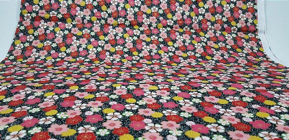 Flowers-07. Tecido Japonês 100% Algodão (50x55cm)