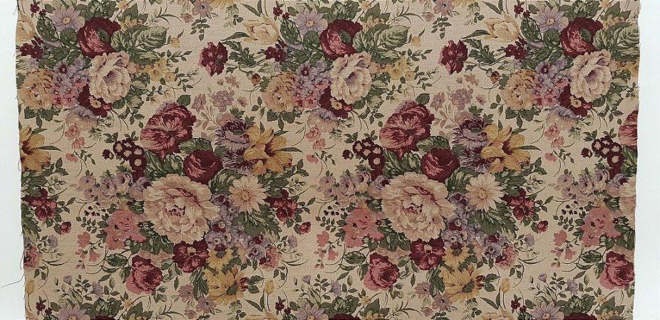 Floral Retrô Red. Tecido em Algodão+LInho (50x110cm)