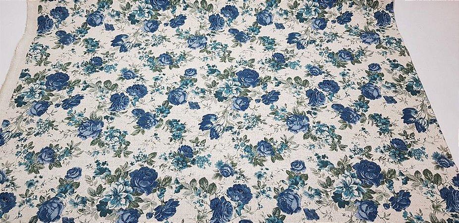 Blue Flower. Tecido em Algodão+Linho (50x110cm)