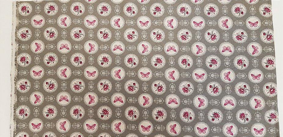 Pink Butterfly. Tecido em Algodão+Linho (50x140cm)