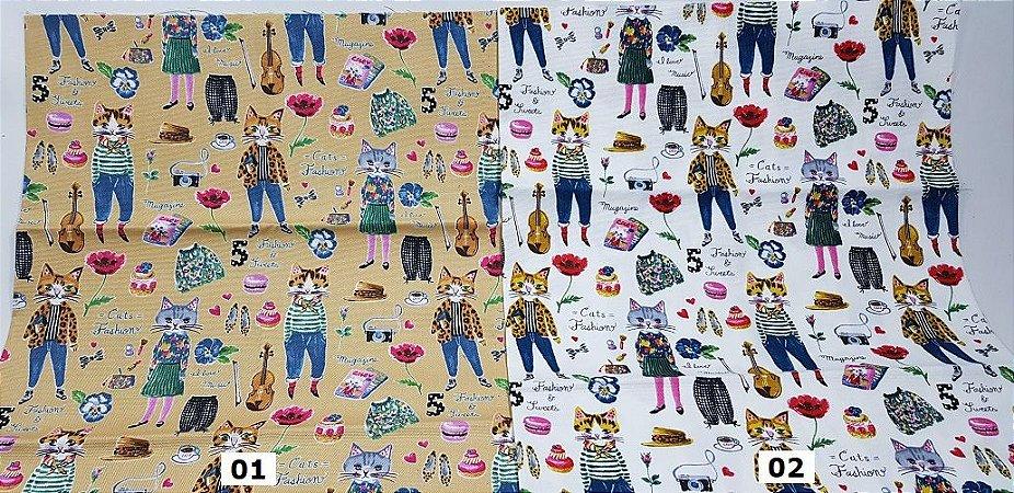Cat Fashion. Tecido em Algodão com Linho TI010-(50x55cm)