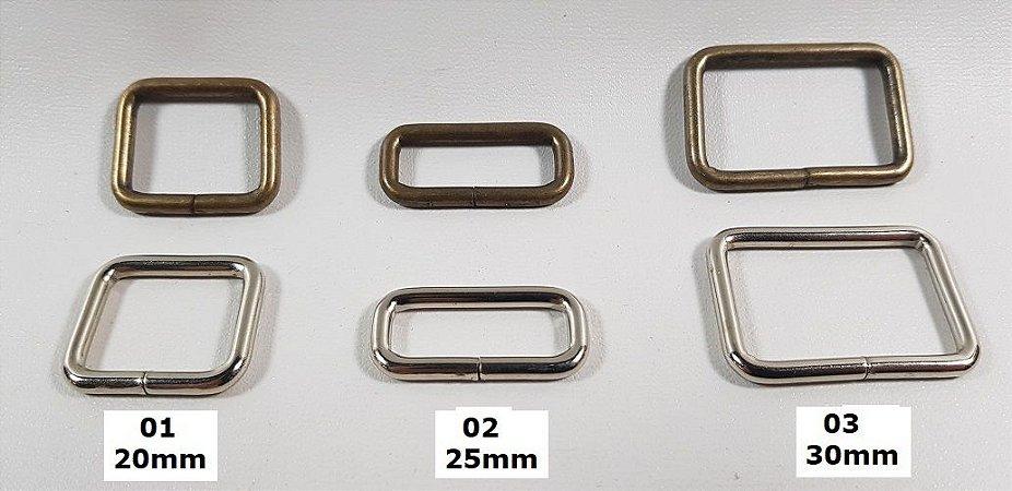 Retângulo para Alça de Bolsas. 20mm a 30mm - 01pç