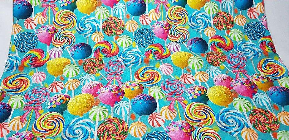 Pirulitos Coloridos. Tecido Digital.  50x70cm