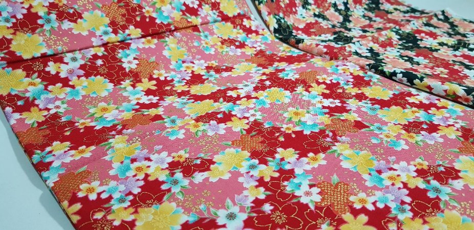 Floral. Tecido Japonês Douradinho. TI029 (50x55cm)