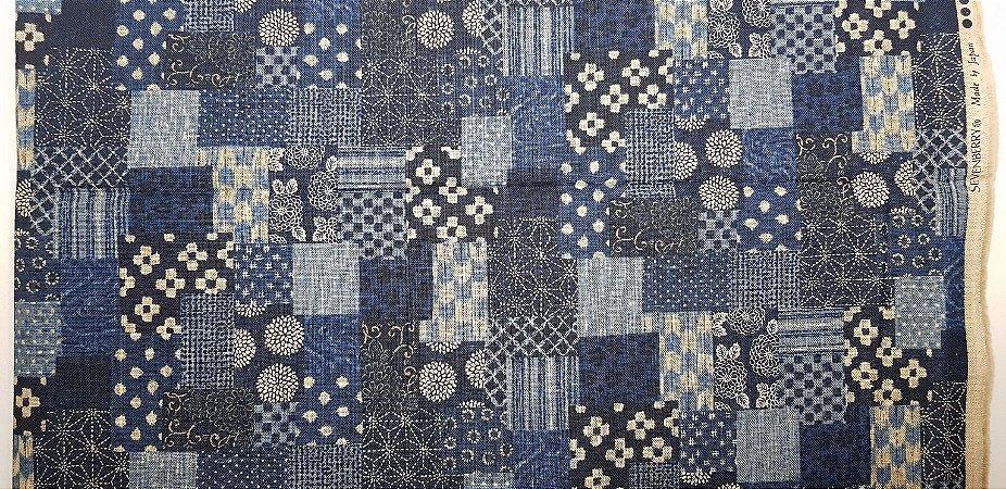 Rustic Blue Miscelaneous. Tecido Algodão Encorpado Japonês. (50x110cm)
