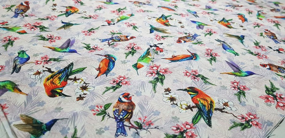 Flowery Little Birds. TN086.  50cm x 70cm