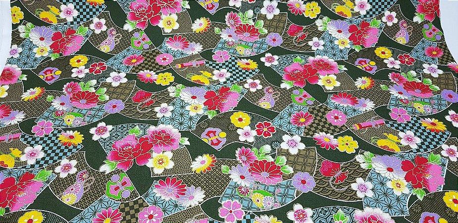 Hand Fan Flowers. Tec.Douradinho Japonês. TI051  (50cm x 55cm)