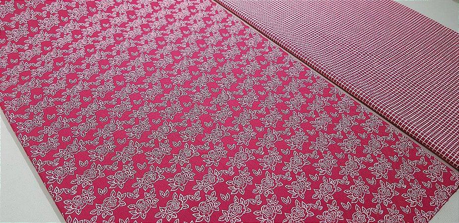 Red Floral. Tecidos 100% algodão. TN097 - 2x(50x70cm)
