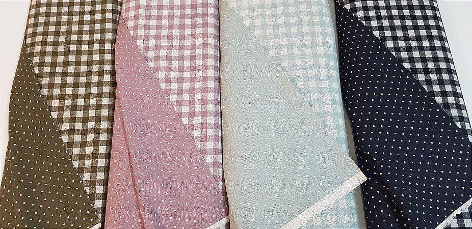 Xadrez Dupla-Face. Tec.Algodão+Linho (Cotton Linen) Japonês-50x110cm