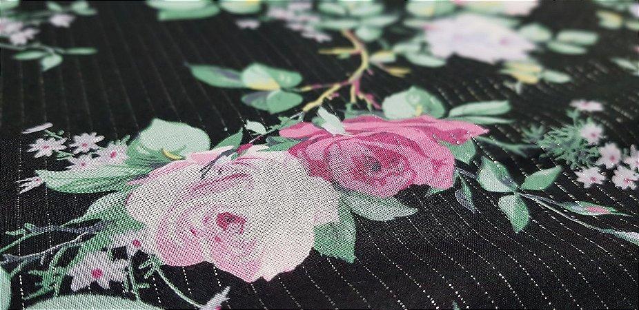 Flower in Silver Lines. Algodão Japonês - 50x55cm
