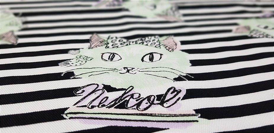 Neko in Love. Linho+Algodão Japonês -50x55cm