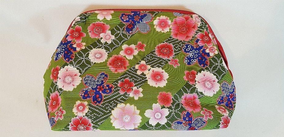 Sakura Green. Necessaire com Tecido Japonês