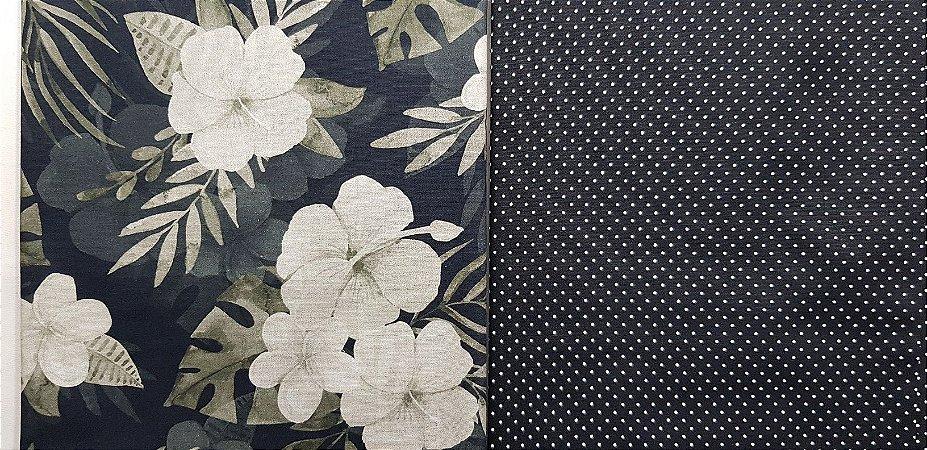 NF0017-Composê Floral P&B. 2x(50x70cm)