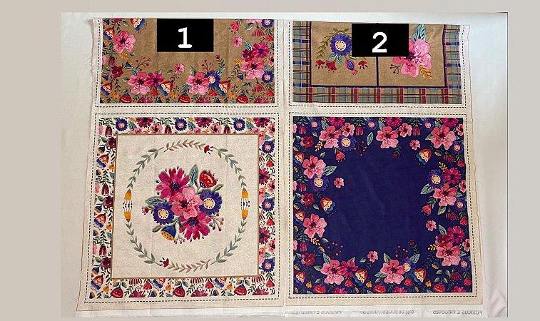 Painel. Almofada. Floral. 3 un. Tec Digital. NP0035