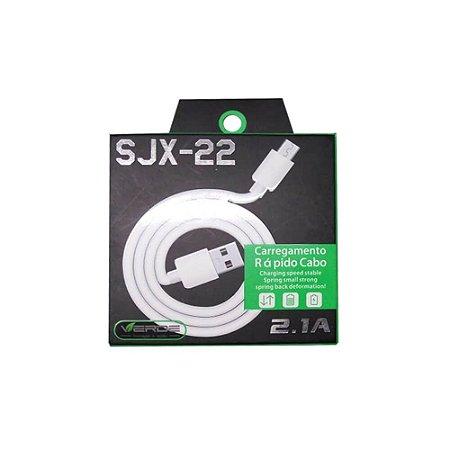 Cabo USB V8 2.1A Carga Rápida 1 Metro - Verde
