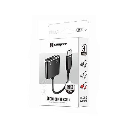 Adaptador para Type C com Entrada P2 e USB - Sumexr
