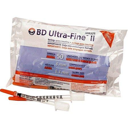 Seringa Insulina BD Ultrafine 50- 8mm c/10 unidades