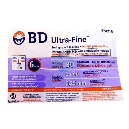 Seringa de Insulina Ultrafine 30ui 6mm 0,25mm 10un