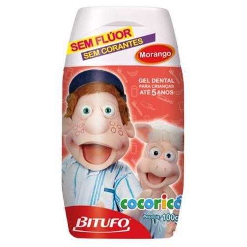 Gel Dental Bitufo Cocoricó Sem Fluor Morango 100gr