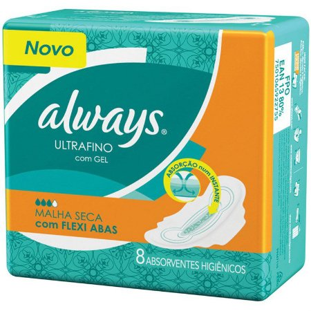 Abs Always Ultrafino Seca com abas 8un