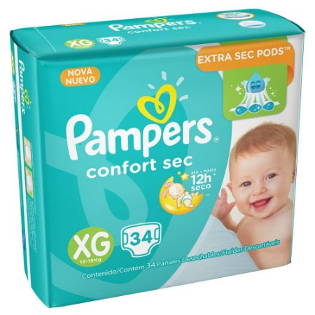 Fralda Pampers Confort Sec MEGA Tam XG C/ 34