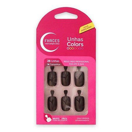 Unhas Fhaces Colors c/ 28 Unhas Ref.:U3055 Marron Escuro