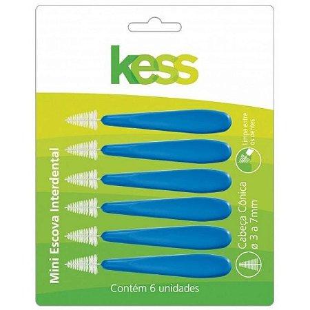 REFIL INTERDENTAL KESS CILINDRICO 3 a 7MM 6un Azul