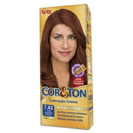 Tintura Cor&Ton 7.43 Louro Acobreado Dourado 50g