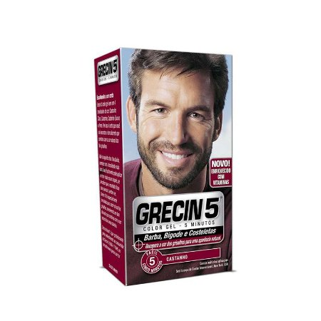 Grecin 5 Color Gel Castanho M-90 Barba, Bigodes e Costeletas
