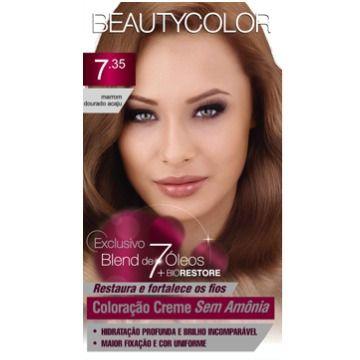 Tintura Beauty Color Sem Amônia 7.35 Marrom dourado Acaju